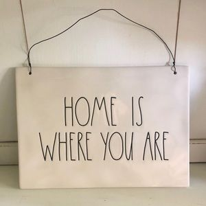 Rae Dunn HOME IS WHERE YOU ARE Ceramic Sign NWT